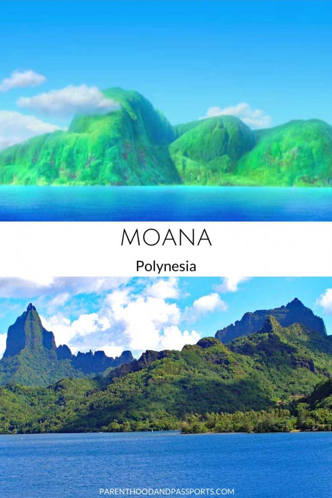 A picture from the Disney movie Moana compared to a real picture of French Polynesia, the setting of the children's movie