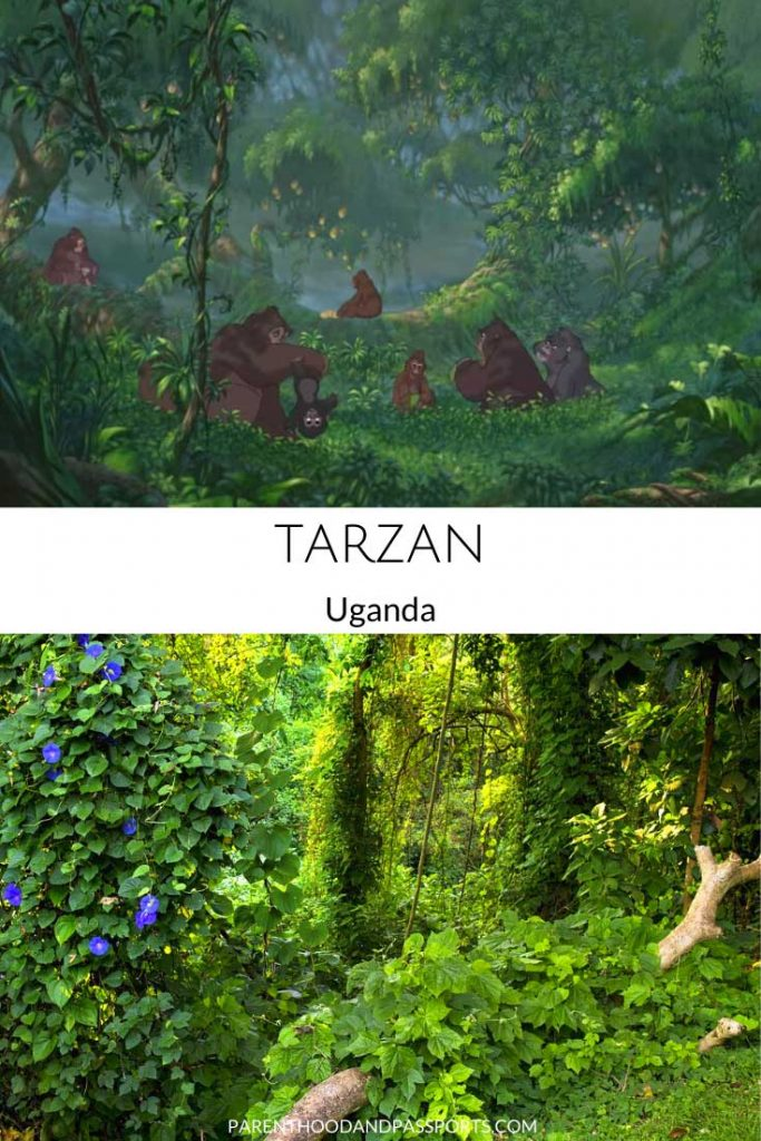 A picture from one of the places in Disney movies set in Africa like Tarzan compared to a real picture of Uganda, Africa