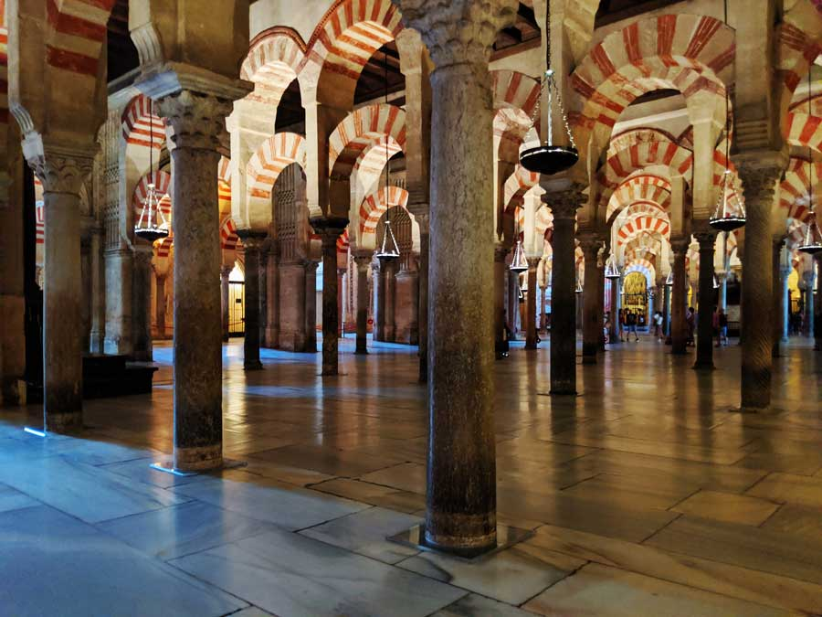 the prayer hall inside the mosque of Cordoba - one of the top things to do in Cordoba Spain in 2 days.
