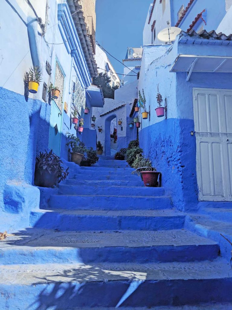 Pretty blue street in Chefchaouen, the blue city of Morocco