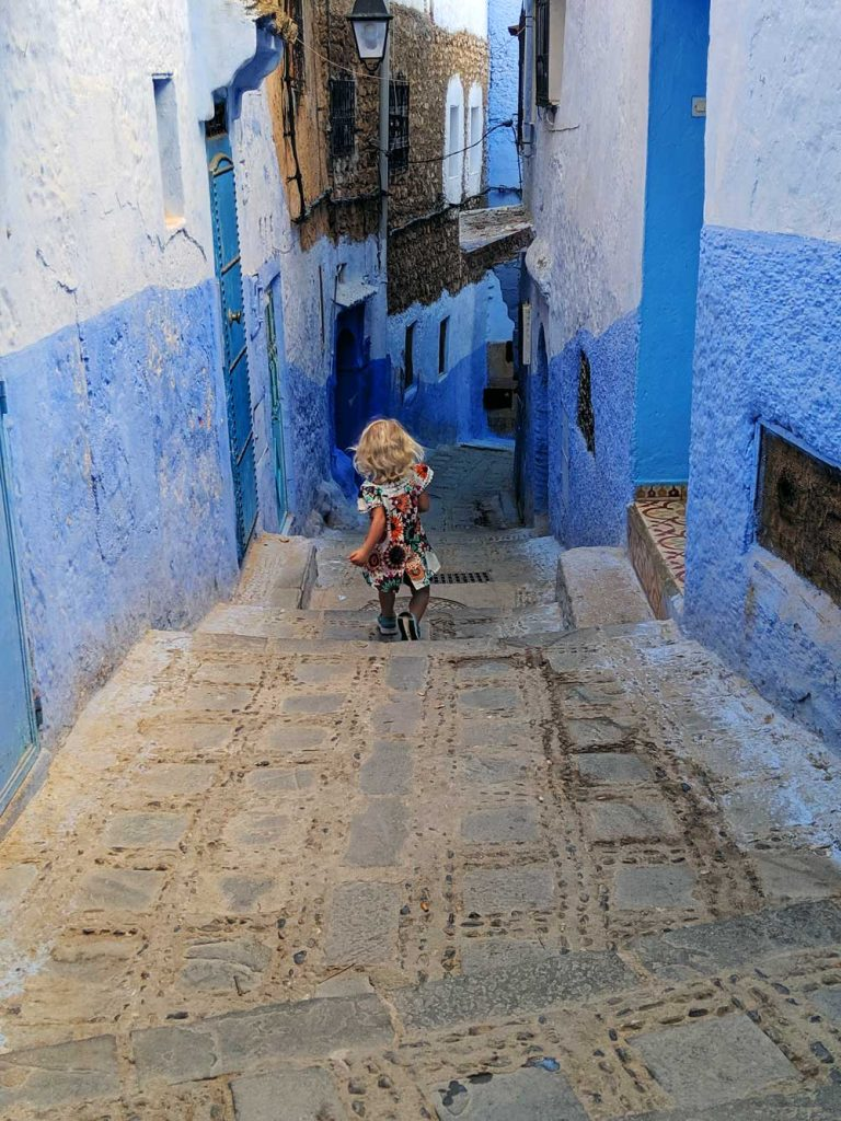 the maze-like streets in Chefchaouen, the blue pearl of Morocco