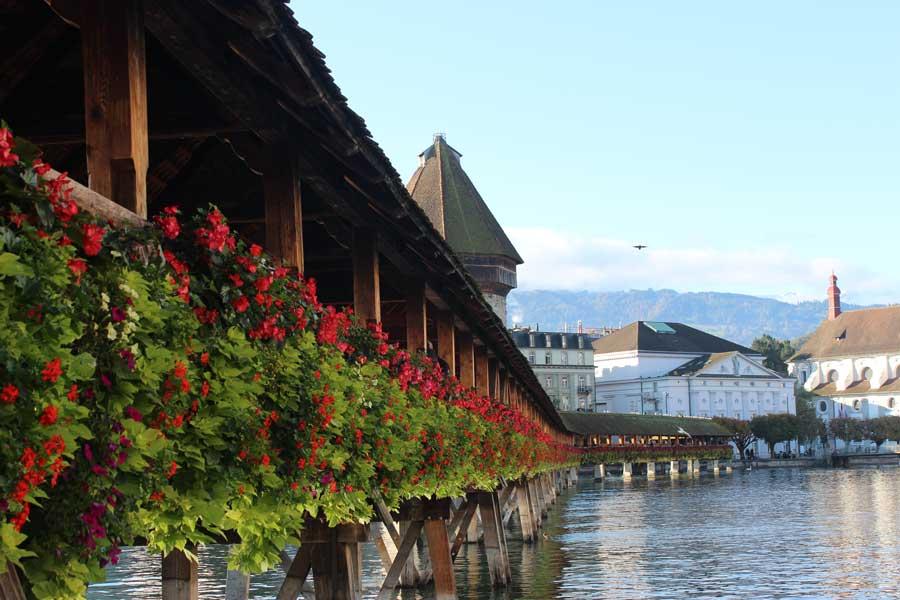 Chapel Bridge in Lucerne, Switzerland. one of the most famous bridges in Europe.