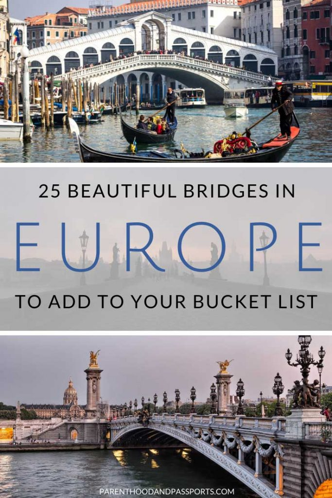 From small pedestrian bridges to modern marvels, some of the most iconic bridges in the world are found in Europe. Here are 25 of the most famous bridges in Europe that are so unique and beautiful you'll want to start planning a trip to see them all. #europe #europetravel #bridges #bucketlist
