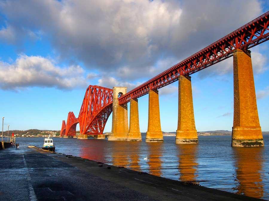 Forth Bridge in Edinburgh. One of the most easily recognized bridges in Europe.