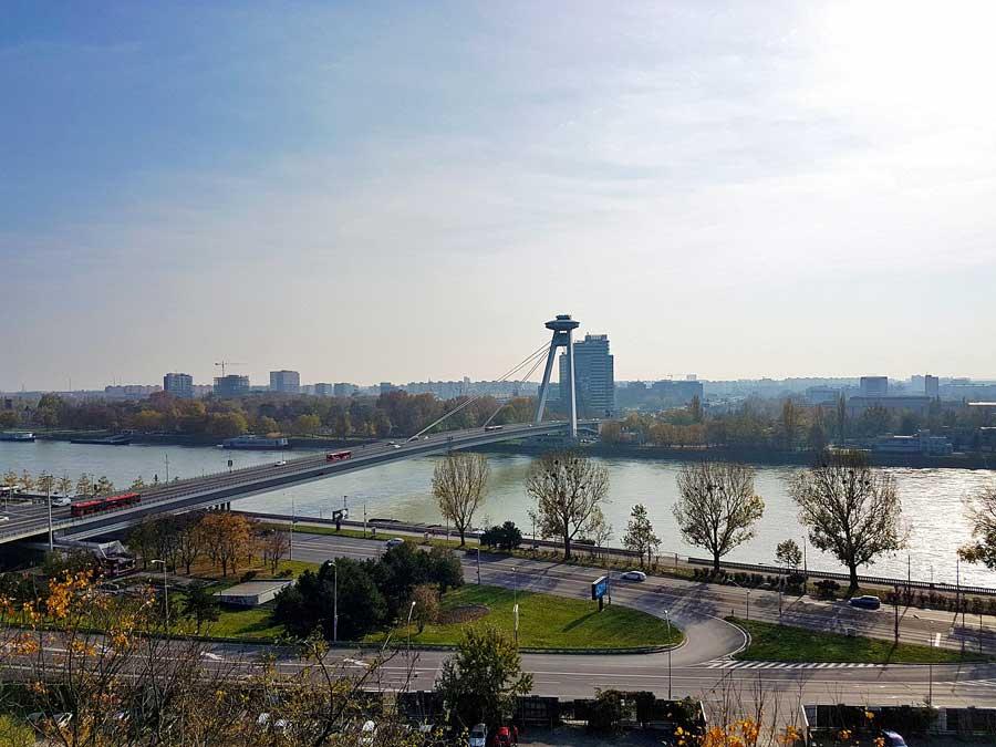 UFO Bridge in Bratislava, Slovakia. One of the most unique bridges in Europe.