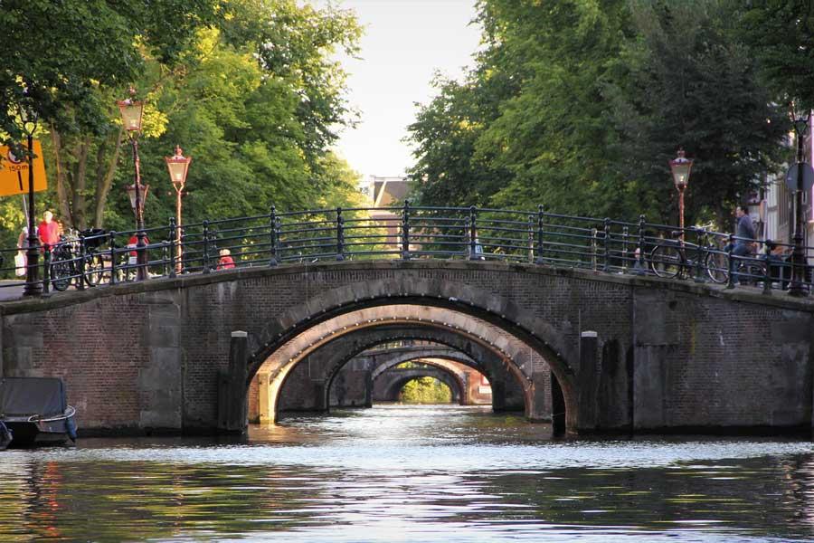 Bridge of 15 Bridges in Amsterdam. Popular bridges in Europe.