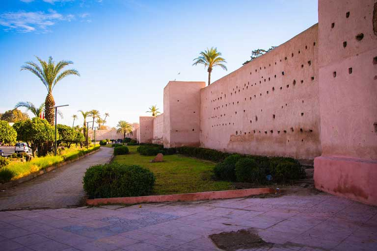 Pink hued walls in Marrakesh, the red city in Morocco