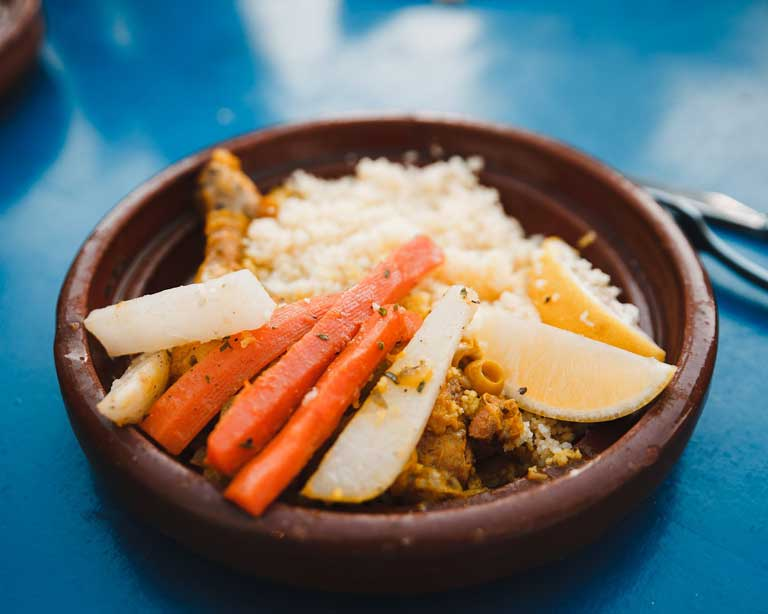couscous, a meal eaten in Morocco on Fridays, which is an interesting fact about Morocco for travelers.