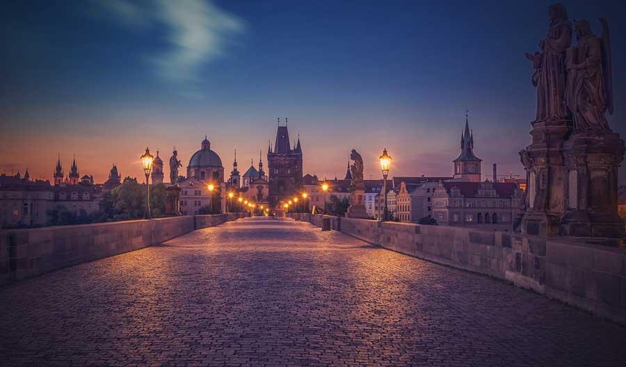 Charles Bridge in Prague, Czech Republic. One of the most romantic bridges in Europe.