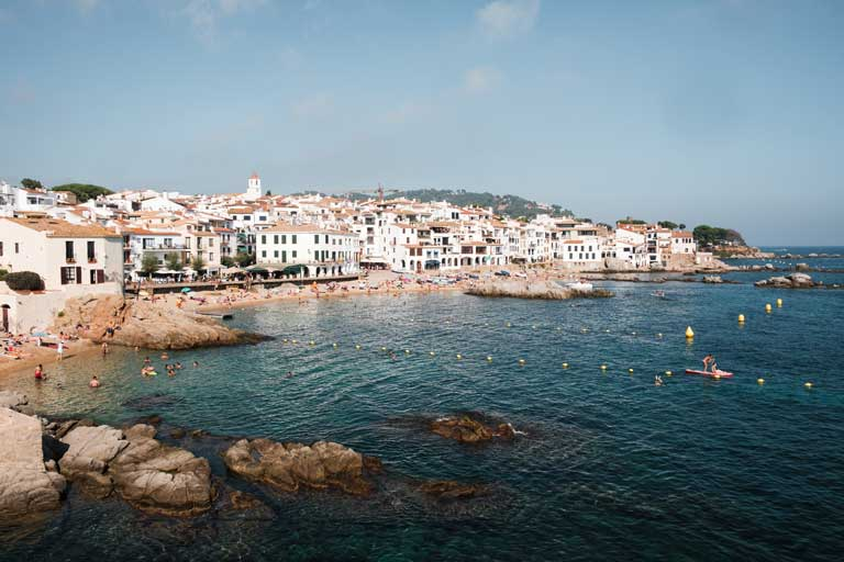The white-washed town in Spain of Calella de Palafrugella on the Costa Brava