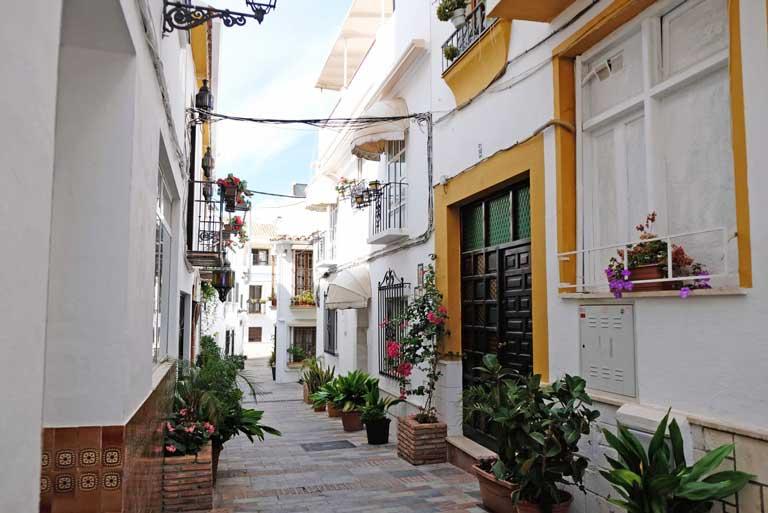 pretty white street Marbella, Spain