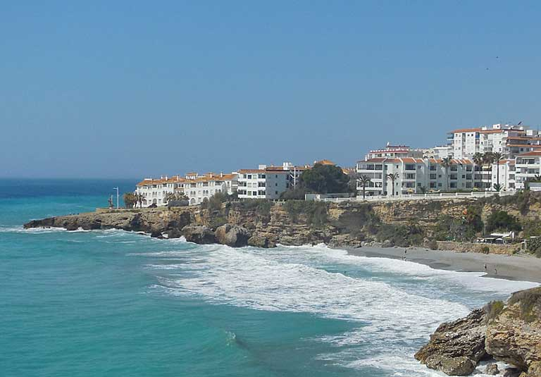 Nerja, a white-washed town in Spain along the Costa del Sol.