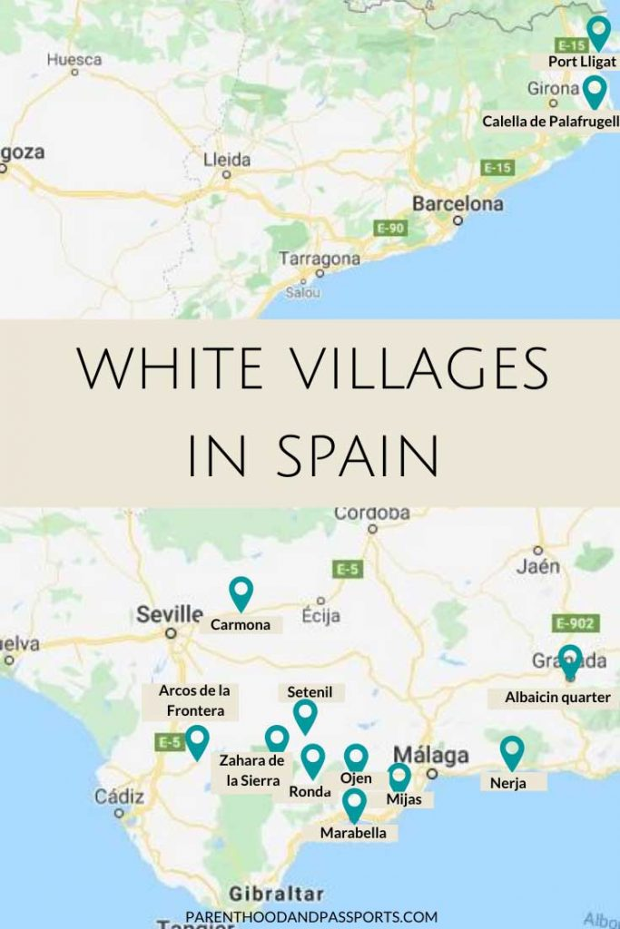 Where are the white villages in Spain? This map show the best white villages in Andalusia and beyond.