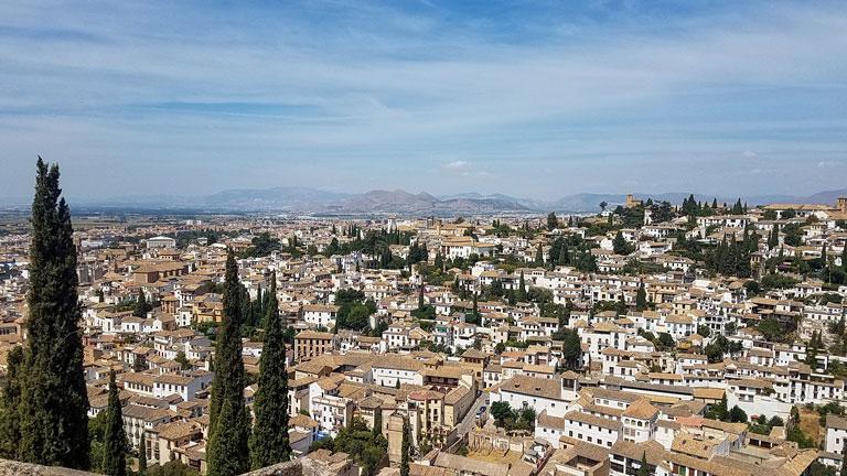 The white-washed neighborhood of Albaicin in Granada, Spain.