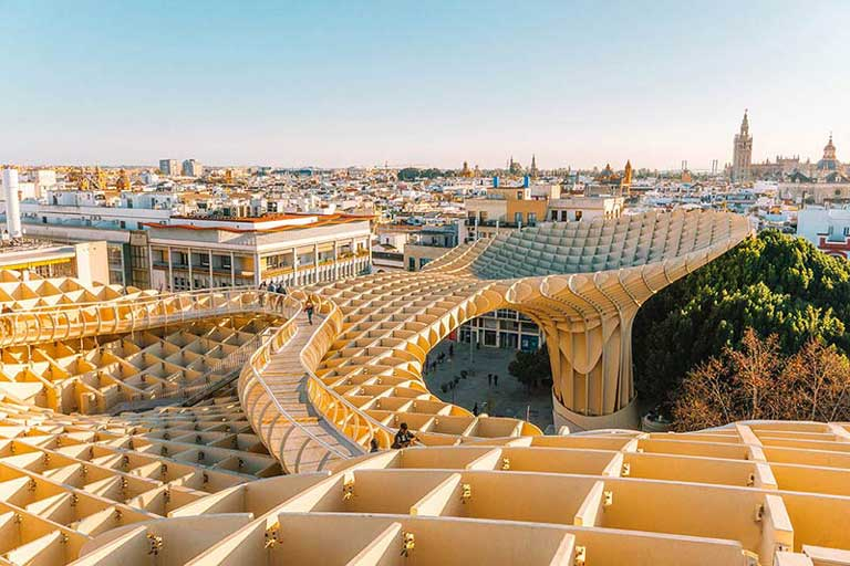 View from the top of Metropol Parasol in Seville