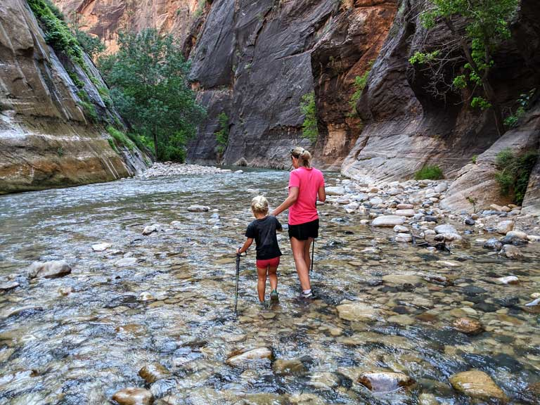 Hiking the Narrows with kids in Zion National Park