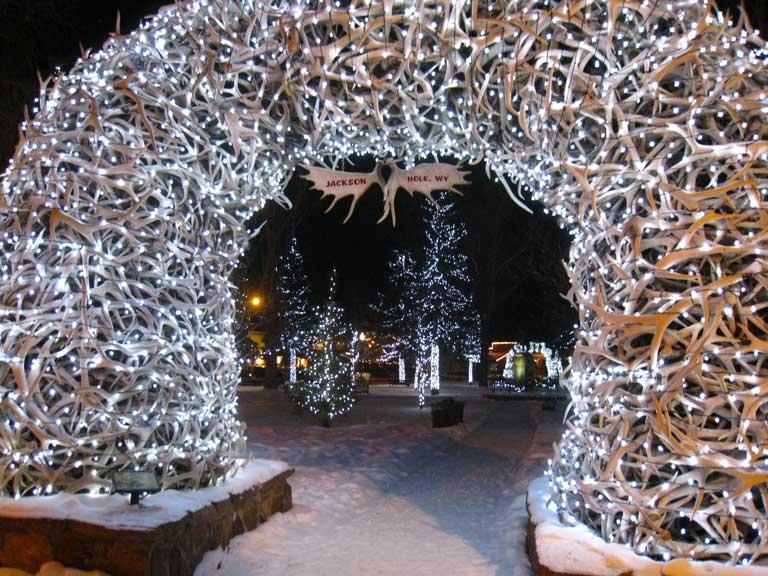 Town park antler arches in Jackson