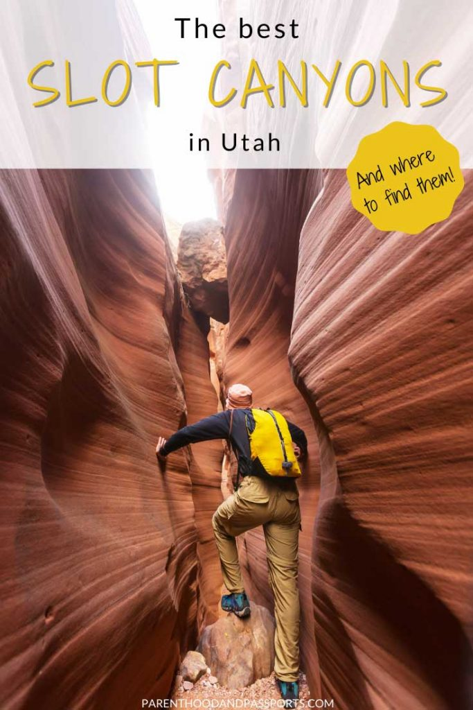 The best slot canyons in Utah and where to find them! These Utah slot canyon hikes will take you through narrow passageways between towering red rocks. Found throughout Utah, including in Zion National Park, Bryce Canyon, Canyonlands (near Moab) and in Grand Staircase-Escalante, these are some of the best hikes in Utah!