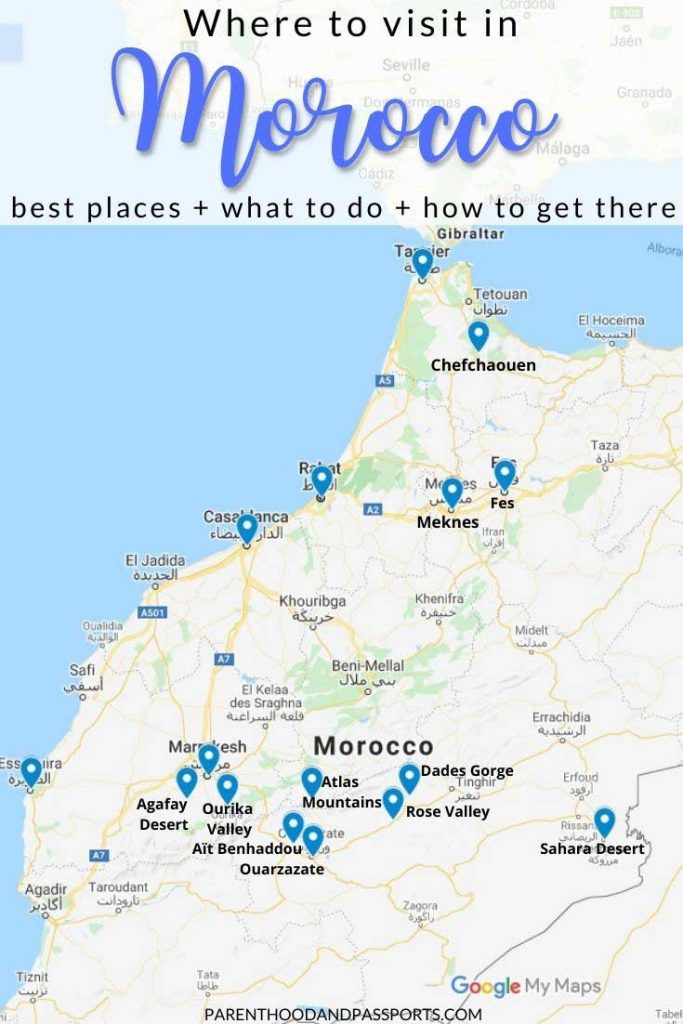 Best places to visit in Morocco map