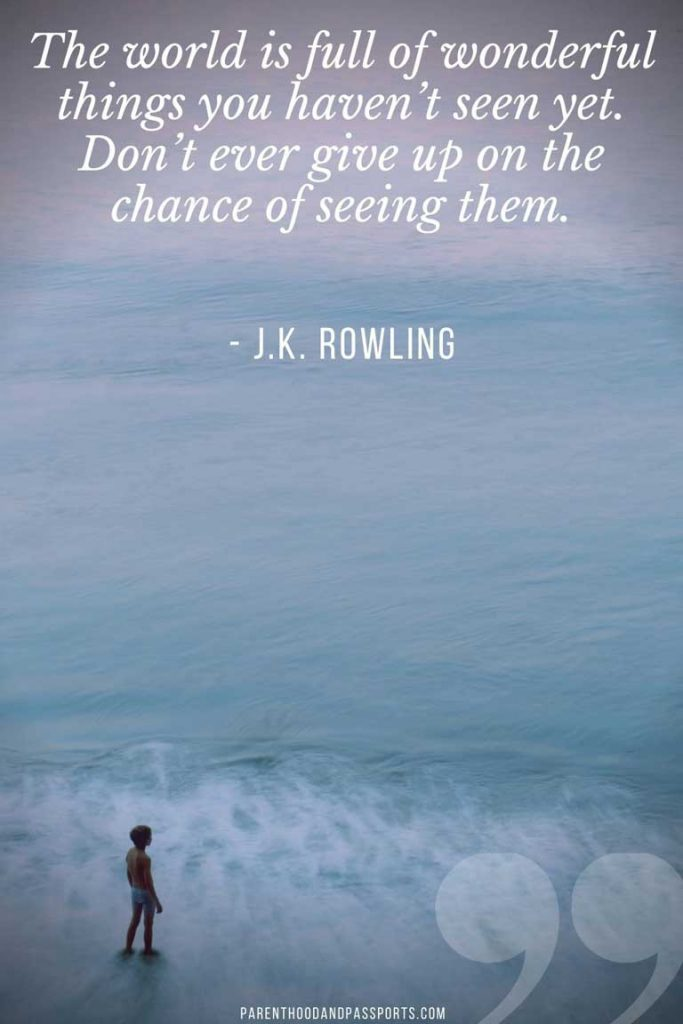 JK Rowling quote - The world is full of wonderful things you haven't seen yet. Don't ever give up on the chance of seeing them - on picture of kid looking at the ocean