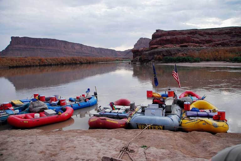 inflatable boats on the Colorado River