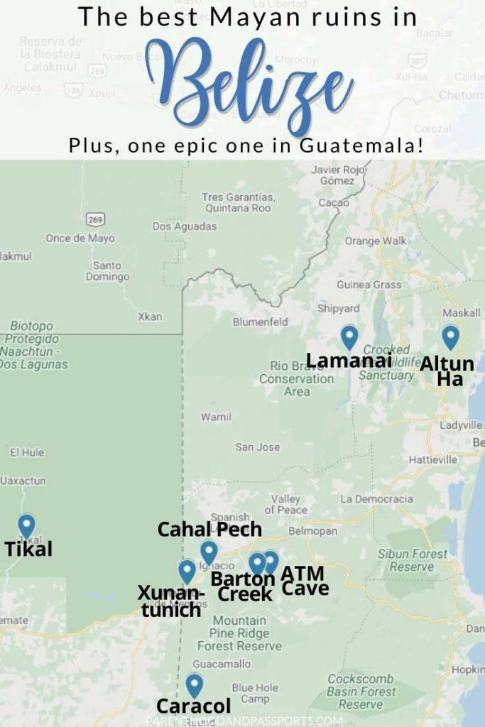 Map of the best Belize Mayan Ruins