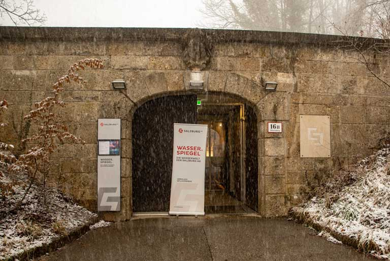 entrance to the water museum in Salzburg