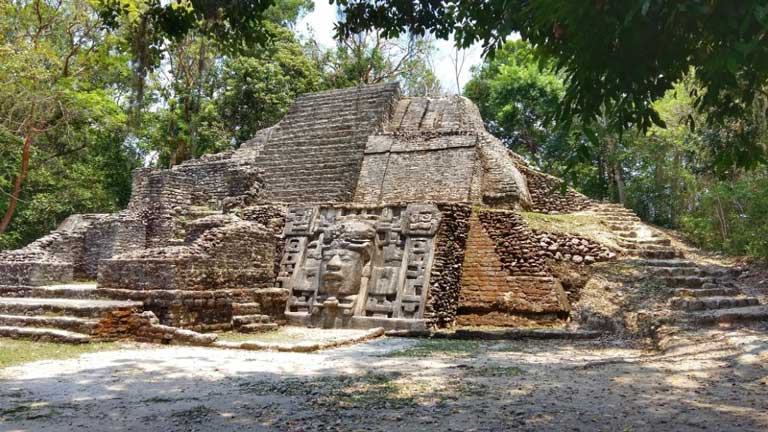 Mask Temple at Lamanai ruins Belize
