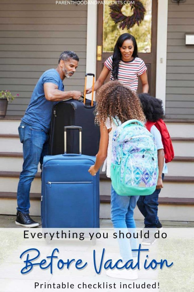 Looking for a list of things to do before going on vacation? This handy pre-trip checklist is designed to help you prepare your home and yourself for travel. | travel planning | travel preparations | pre-travel checklist | vacation checklist | international travel preparations | vacation preparation | things to do before going on holiday | list of things to do before going on a trip