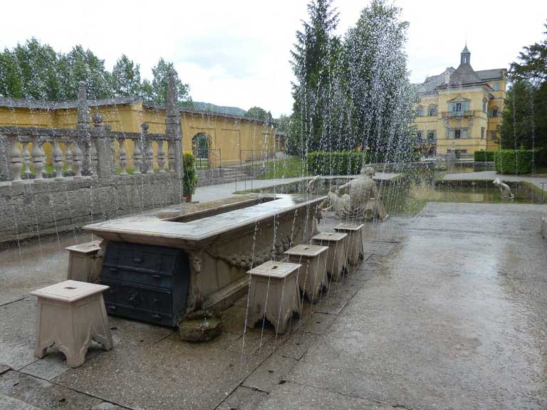 The trick fountains at the Lord's Table at Schloss Hellbrunn Palace.