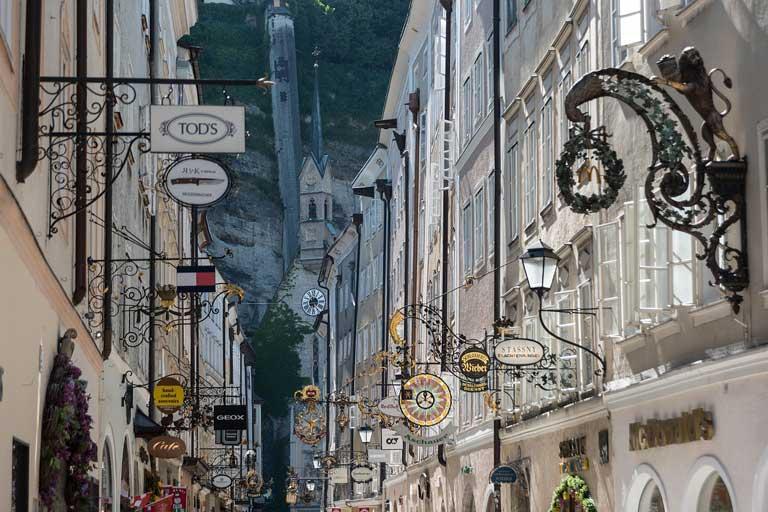 Getreidegasse shopping street in Salzburg