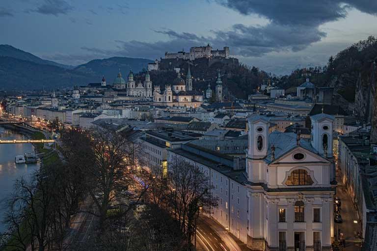 Salzburg Austria skyline at dusk
