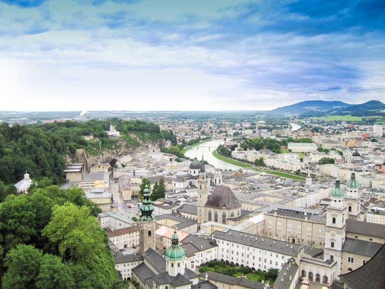 View of Salzburg from Augustiner beer hall