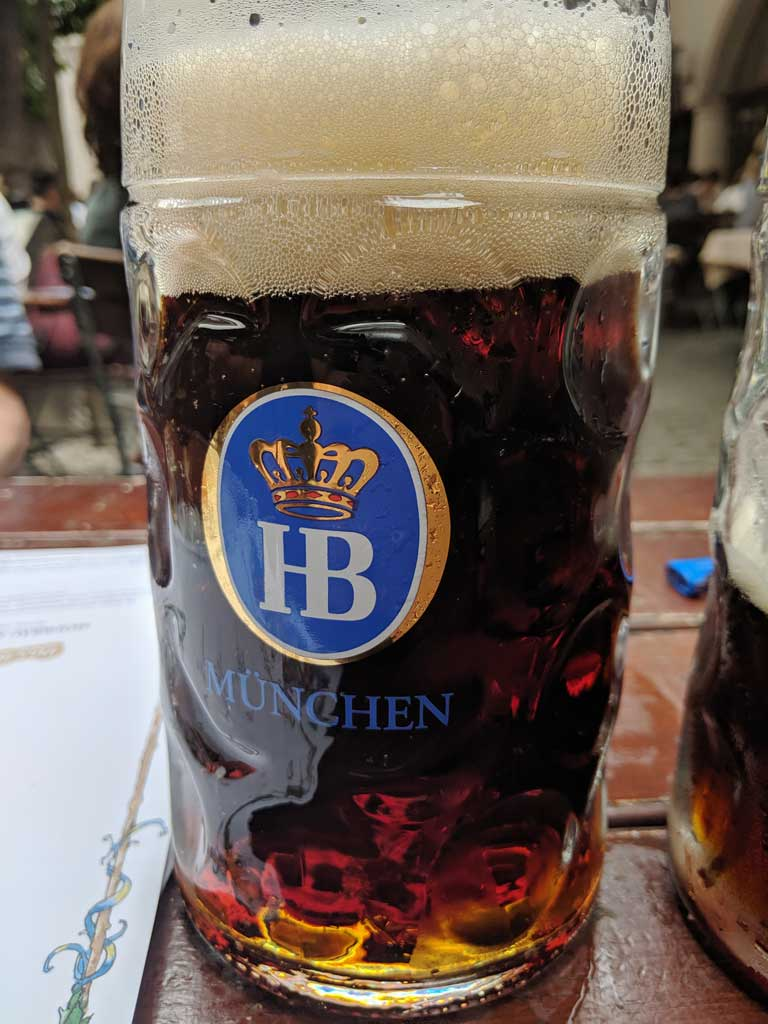 A beer from Haufbrauhaus, the oldest beer hall in Munich.