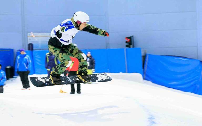 A snowboarder inside Ski Dubai