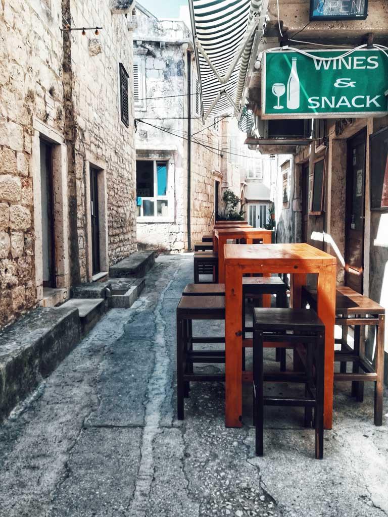 A restaurant in Old Town Korcula Croatia
