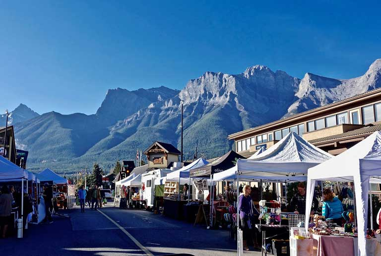 a street market in Canmore Canada