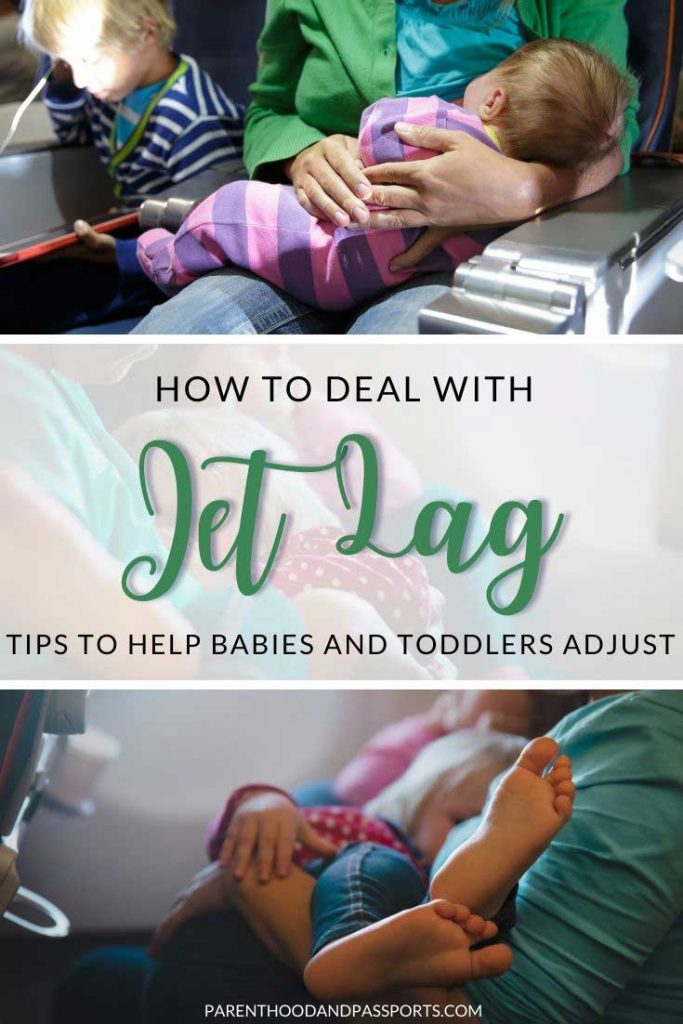 Jet lag is tough for anyone but baby jet lag and toddler jet lag can be brutal. Here are a few travel tips for jet lagged babies to help little ones adjust to a new time zone faster and easier.   jet lag babies   family travel   travel with babies   jet lag toddlers