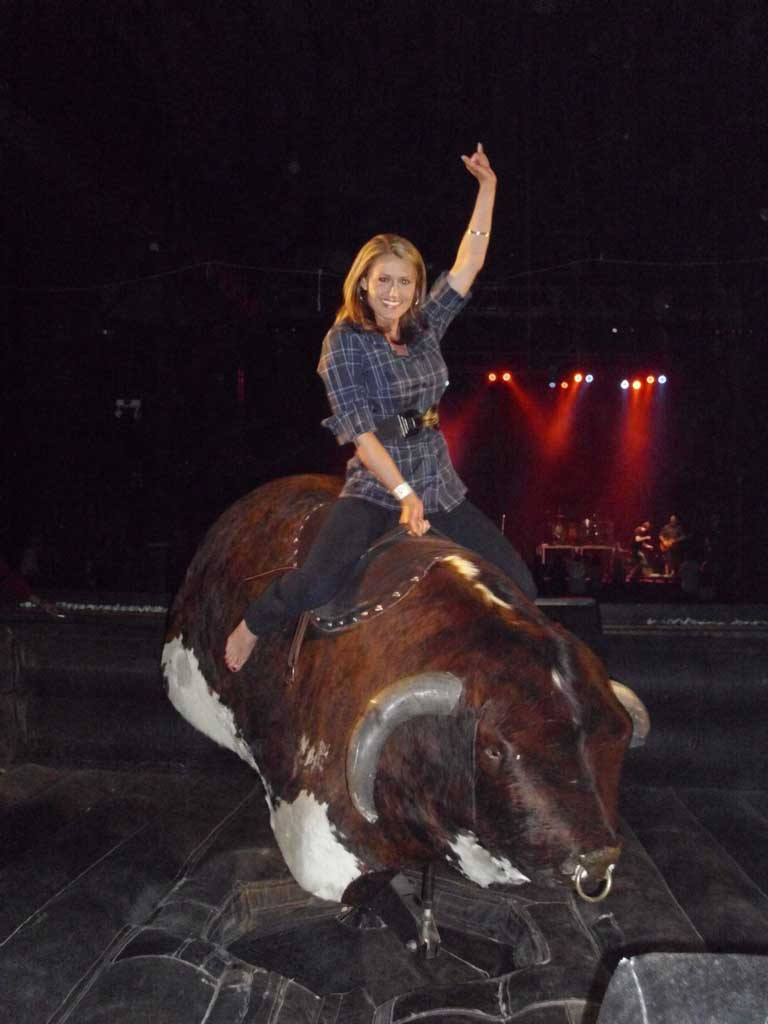 riding a mechanical bull in Fort Worth