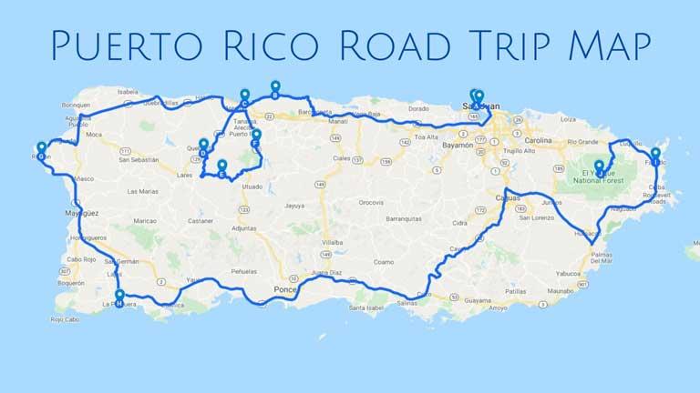 Puerto Rico Road trip map