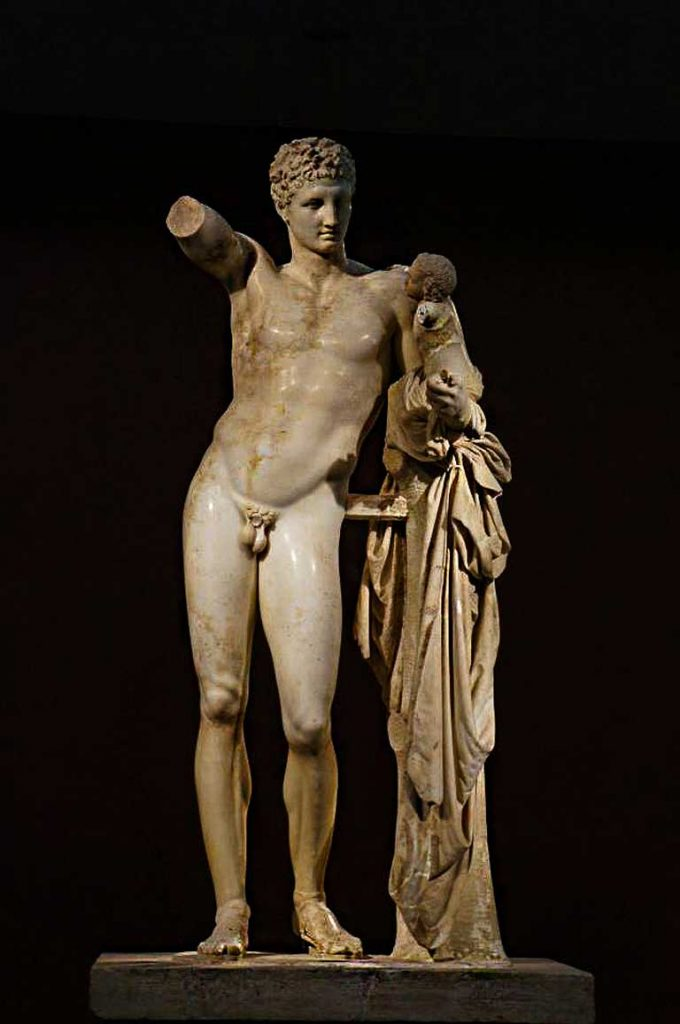 The statue of Hermes in Olympia, Greece