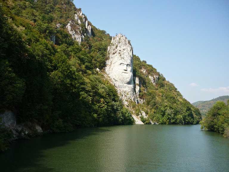The famous European Statue of Decebalus along the Danube River