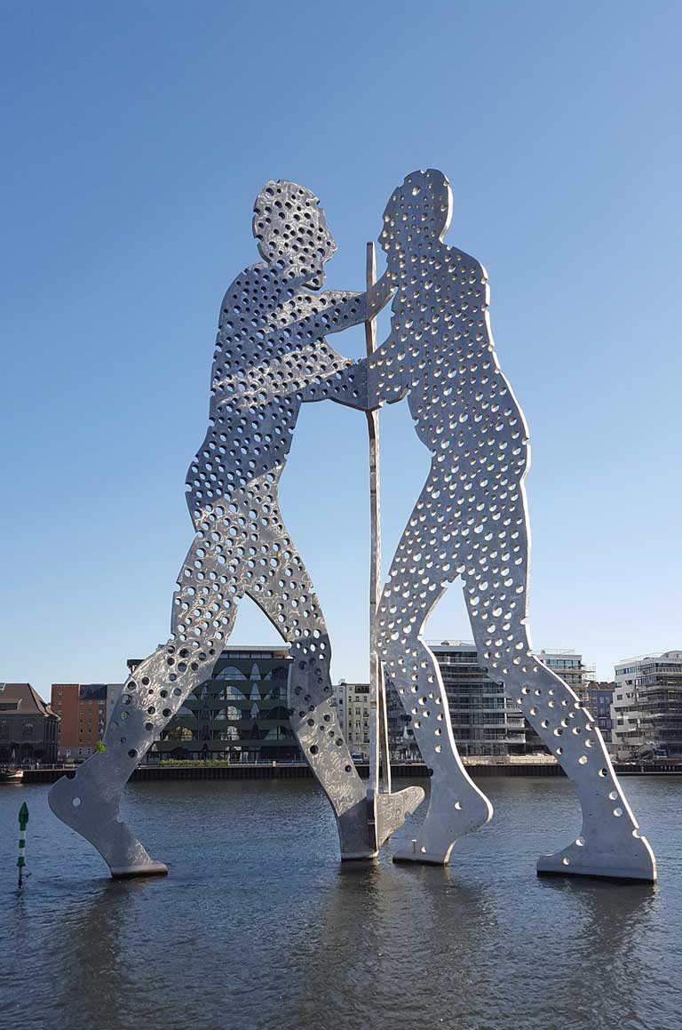 Molecule Man, one of Europe's most famous modern art statues, located in Berlin, Germany.