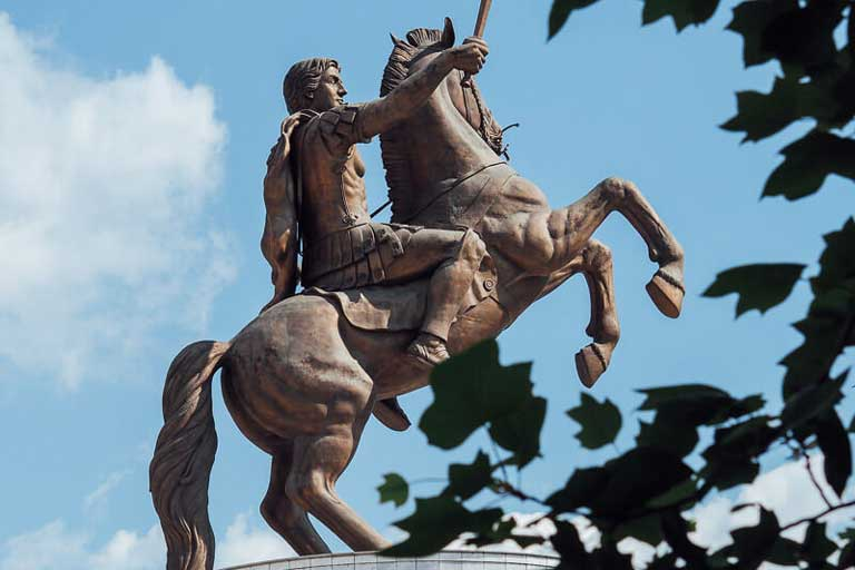 Statue of Warrior on a Horse in Skopje, North Macedonia
