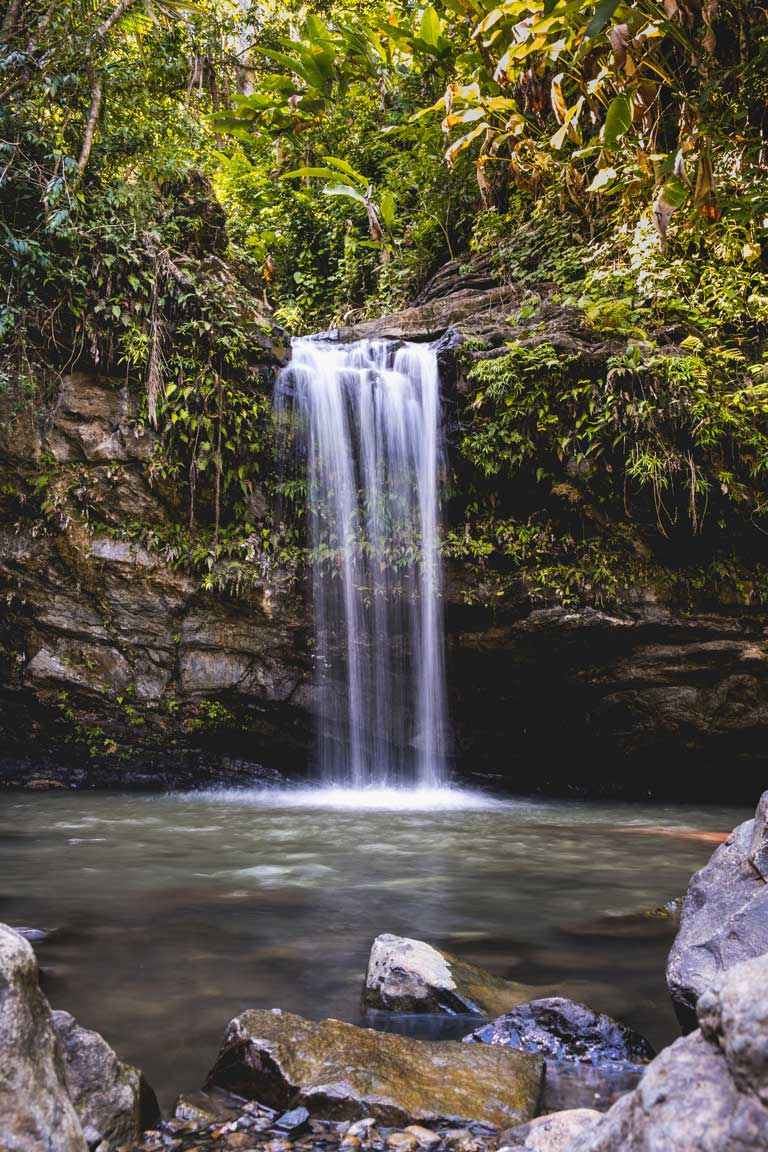 Juan Diego waterfall in El Yunque National Forest, one of the best places to visit on a Puerto Rico road trip.