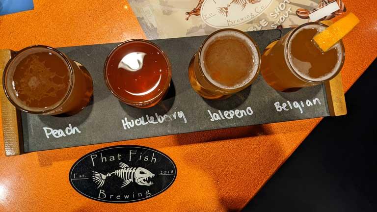 beer flight at Phat Fish Brewing
