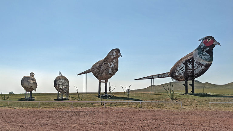 Pheasants on the Prairie sculpture in North Dakota