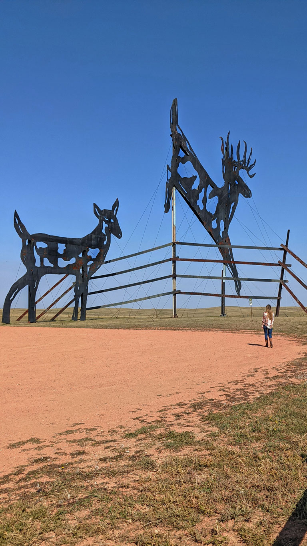 The Deer Family scrap metal sculpture
