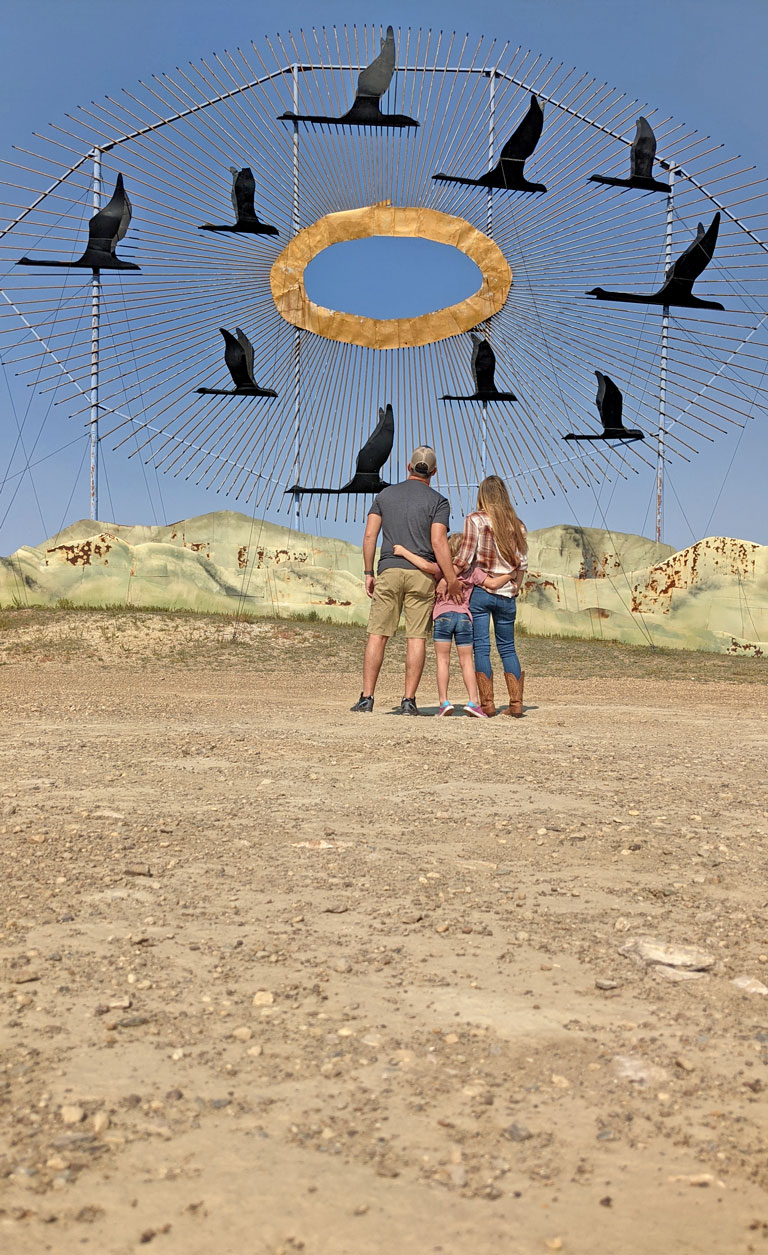 Geese in Flight - the largest scrap metal sculpture in the world found along the North Dakota Enchanted Highway